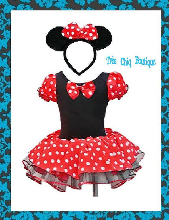 minnie mouse costume girl baby newborn toddler red disney