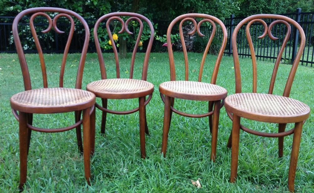 Sedie Thonet ~ Antique set of bentwood cane seat cafe bistro chairs thonet