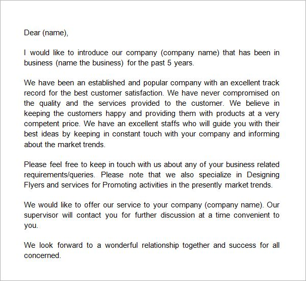 Business Introduction Letter Template   Pinteres