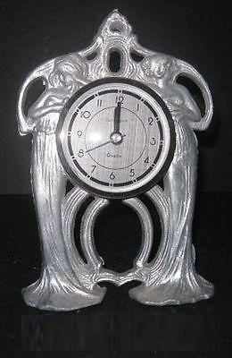 """Art Nouveau Nymphs table 7"""" cast aluminum clock case (movement not included)"""