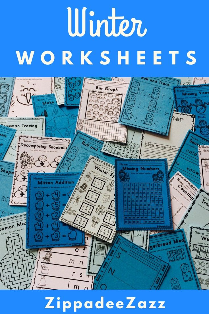 Worksheets for Winter ELA Literacy and Math Activities | Printable ...