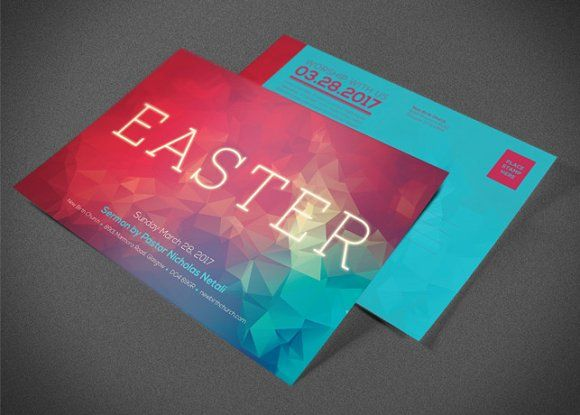 Modern Easter Church Flyer Template by loswl on @creativemarket - easter flyer template