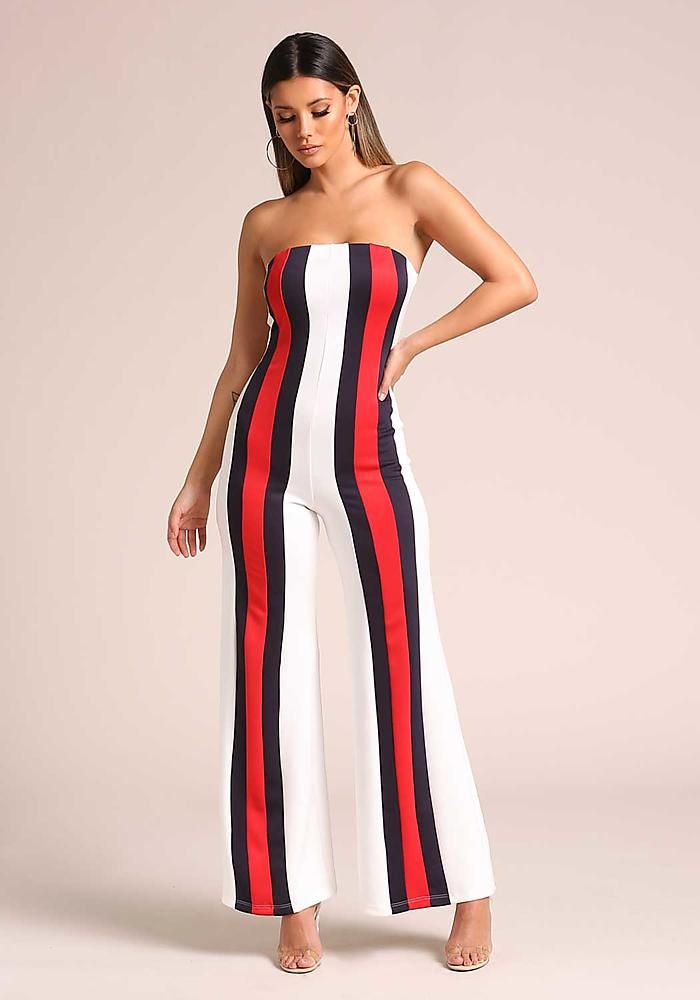3841d08e456 White Strapless Color Block Stripe Jumpsuit - New