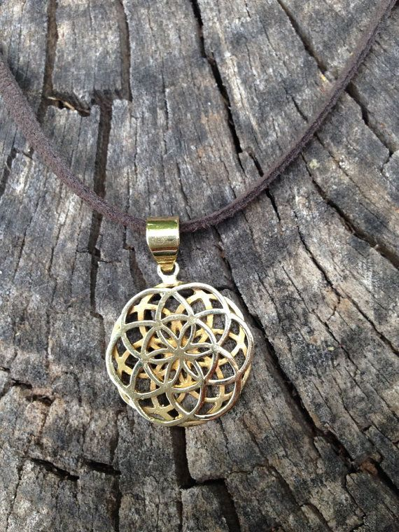 Brass Double Seed of Life Pendant on Leather Necklace, Sacred G Geometry Flower of Life Tribal Beauty