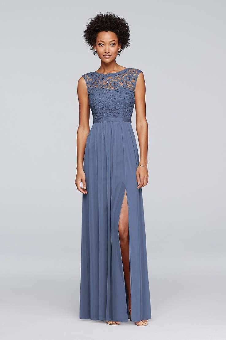 Whitney S Pick F19328 Steel Blue Non Metallic Lace Grey Bridesmaid Dresses