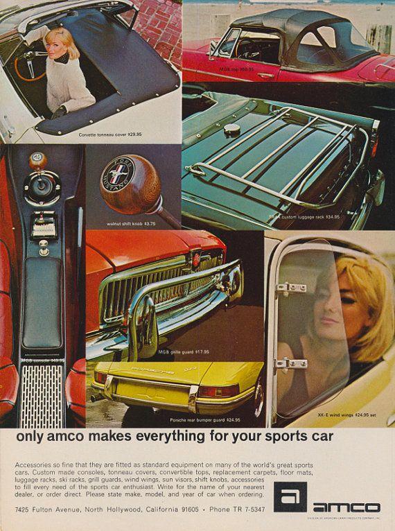 1968 Amco Car Auto Accessories Ad Vintage Advertising Corvette Mgb Porsche Automobile Accessory Photo Print A Car Accessories Vintage Advertisements Garage Art
