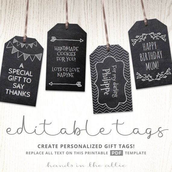 Chalkboard Editable Gift Tags Blackboard Text Editable