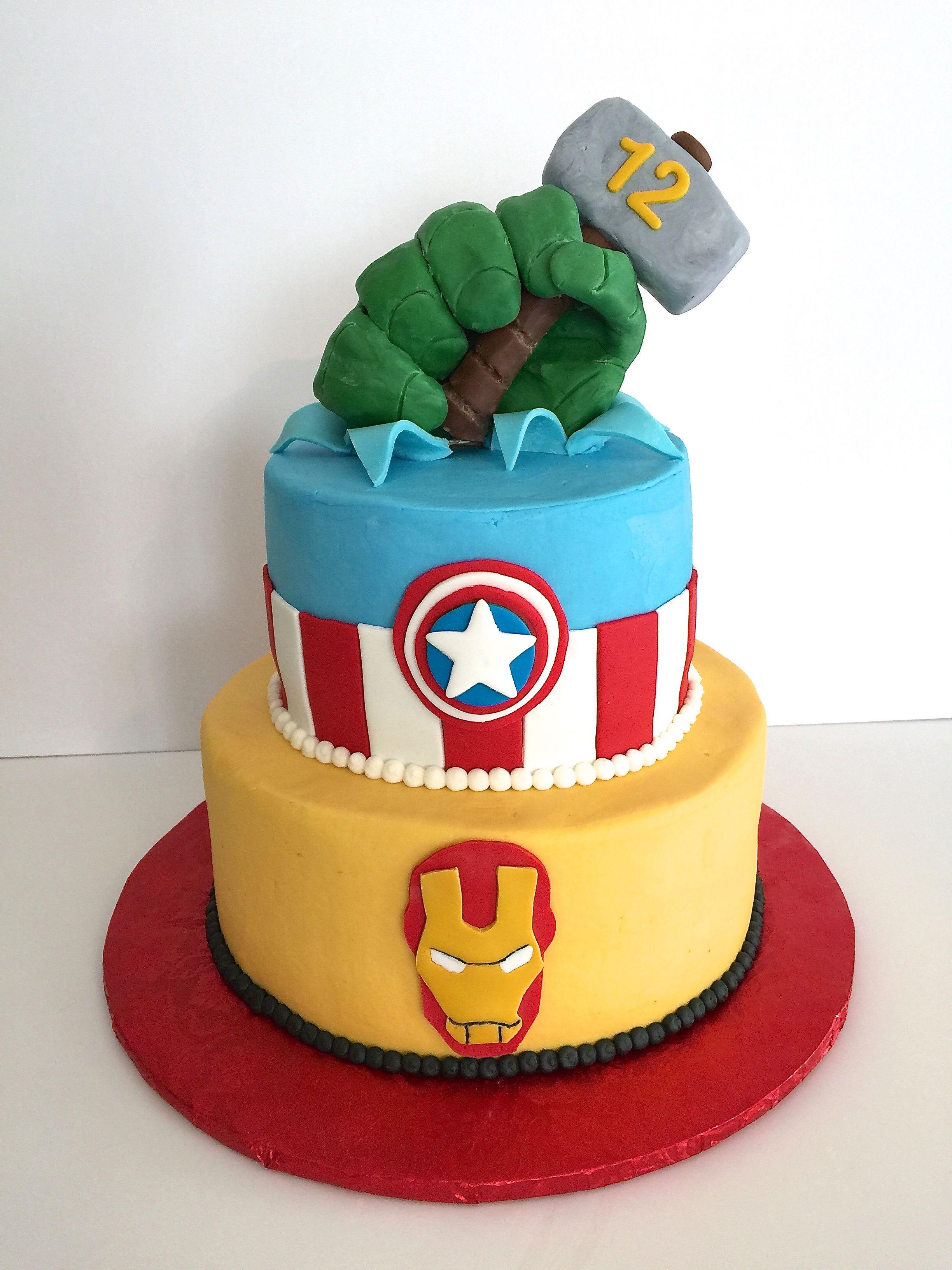 Avengers cake buttercream iced cake with fondant details I
