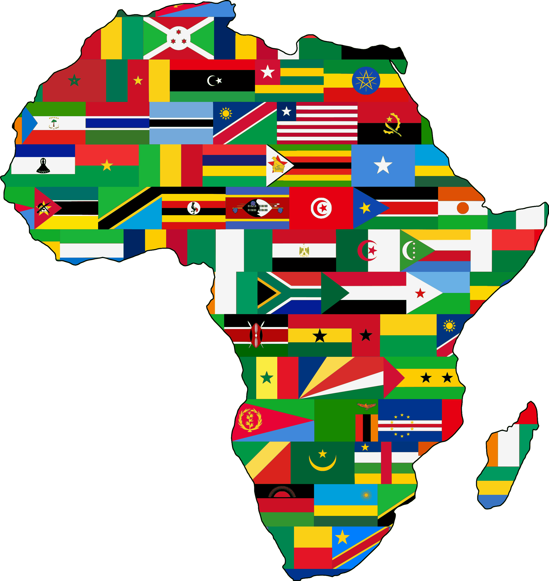 africa map with country flags