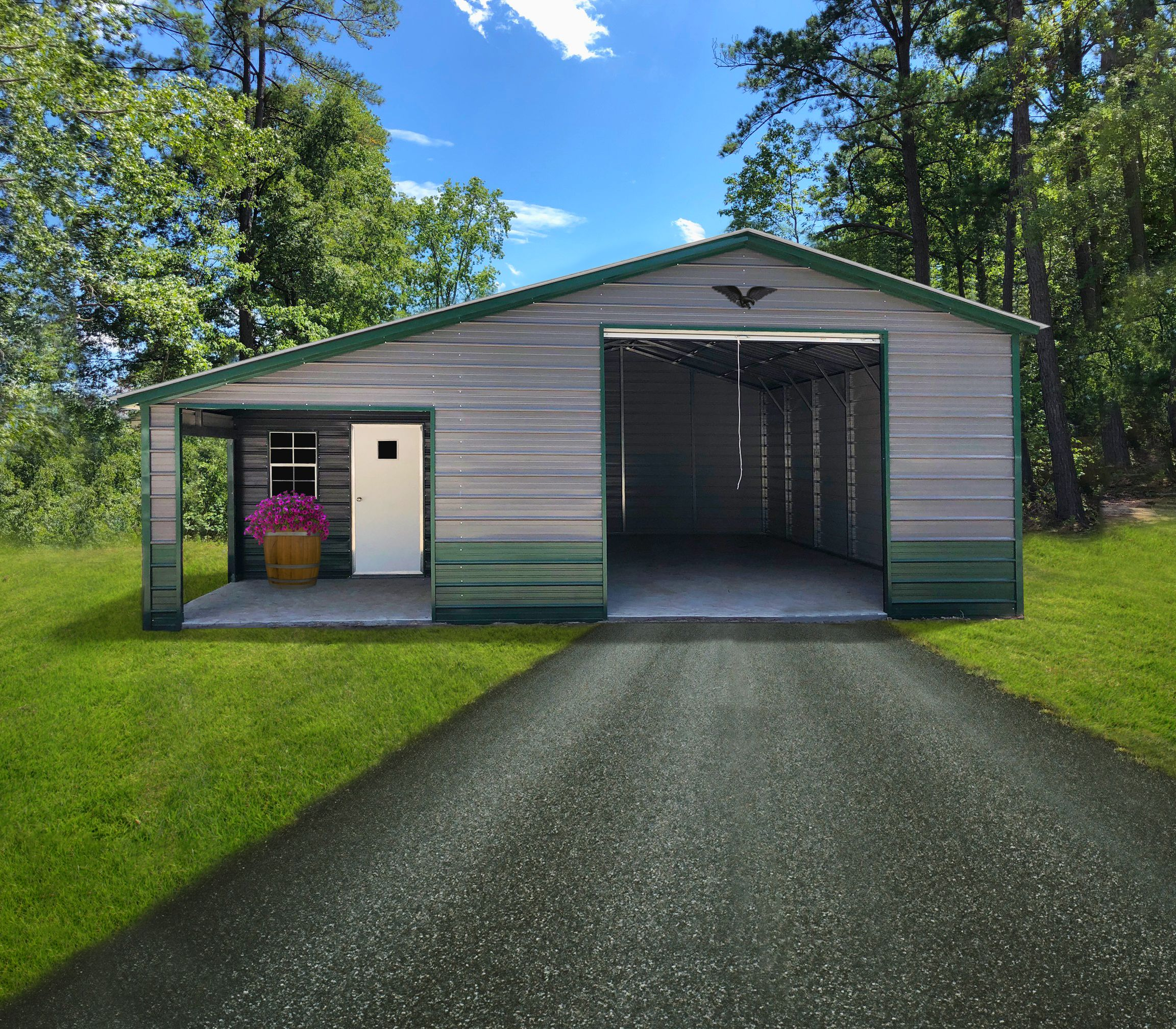 His And Hers Metal Shop In 2020 Portable Buildings Side Porch Metal Buildings