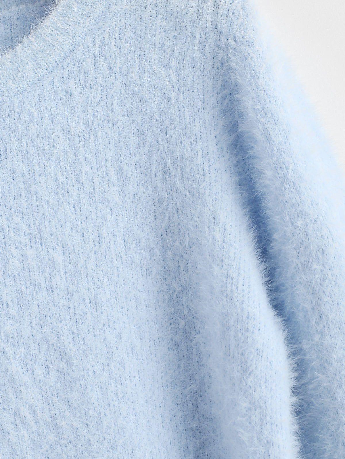 Cosy Fluffy Sweater DAY SKY BLUE KHAKI WARM WHITE WATERMELON