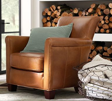 Irving Roll Arm Leather Armchair Polyester Wrapped
