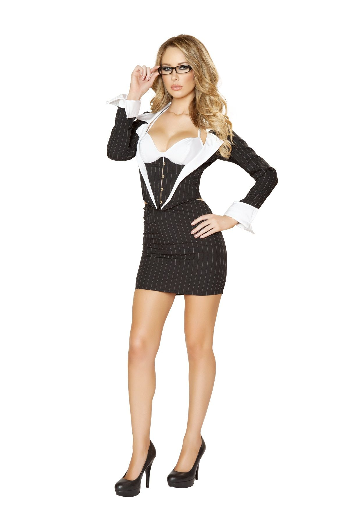 3 pc sassy secretary costume includes bra top jacket with busk closure and skirt - Naughty Librarian Halloween Costume