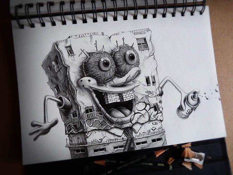 Caóticas Ilustraciones de Personajes Cartoon por PEZ