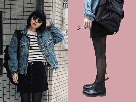 ERIKA N , Dr. Martens Chelsea Boots, Forever 21 Button Front Skirt, Calvin  Klein Jeans Oversized Denim Jacket , Nov.7 xx