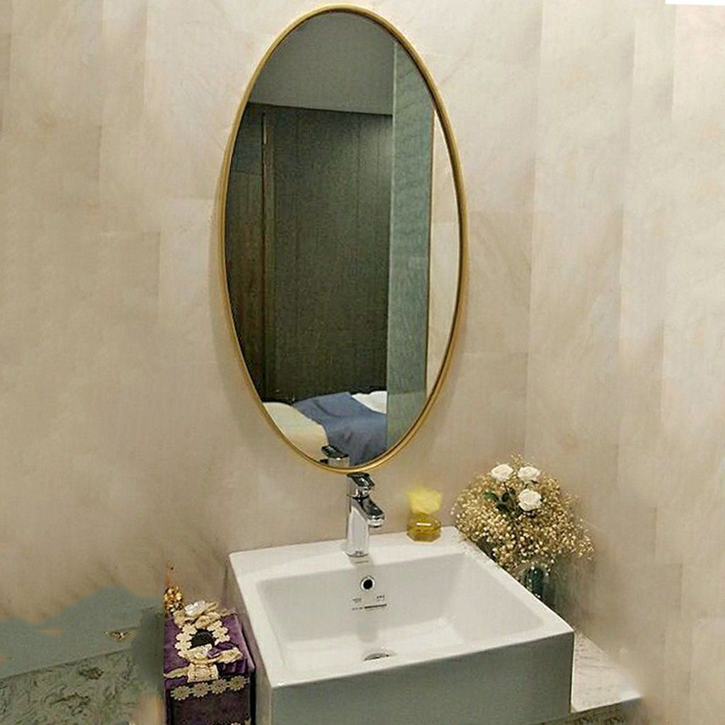 Mirror Hanging On The Wall Entrance Mirror Wooden Oval Mirror Bathroom Wall Mirror Simple Dressing Ta Bathroom Mirror Mirror Wall Bathroom Oval Mirror Bathroom