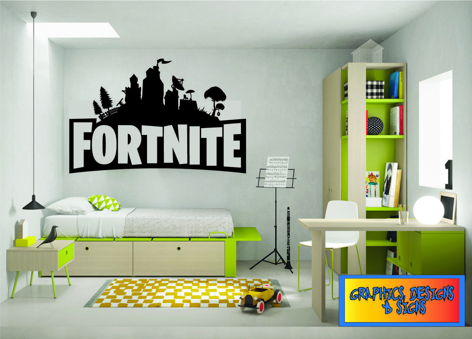 Childrens wall stickers fortnite gaming bedroom art logo 3 fortnight xbox ps4 ebay