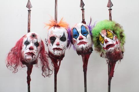 Clown Heads on Spikes 4 Pc Set Halloween Pinterest Haunted - circus halloween decorations