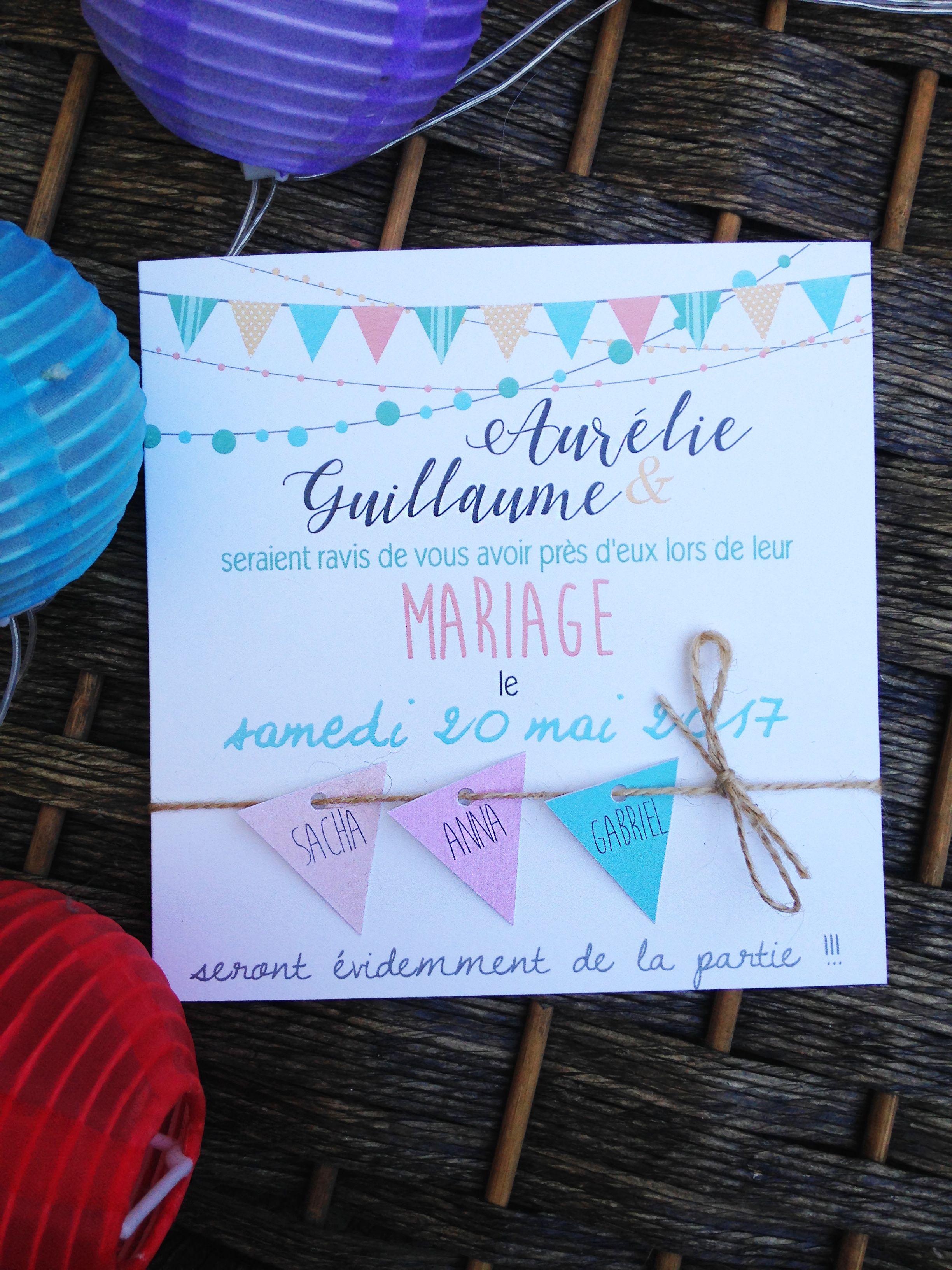 Faire Part Mariage Sur Mesure Personnalis Guiguette Pastel F Te