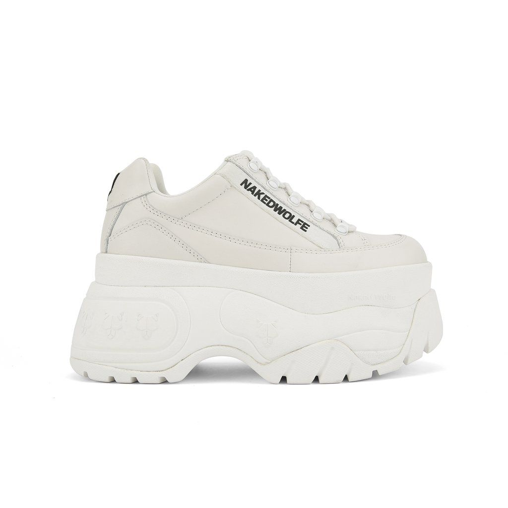 ladies white leather platform trainers