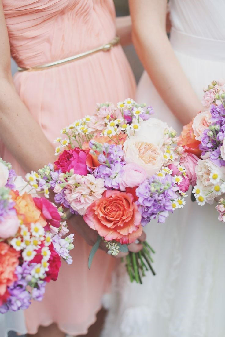 large coral roses and stock love the little daisies! | Going To The ...