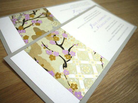 SAKURA cherry blossoms wedding invitation with Japanese