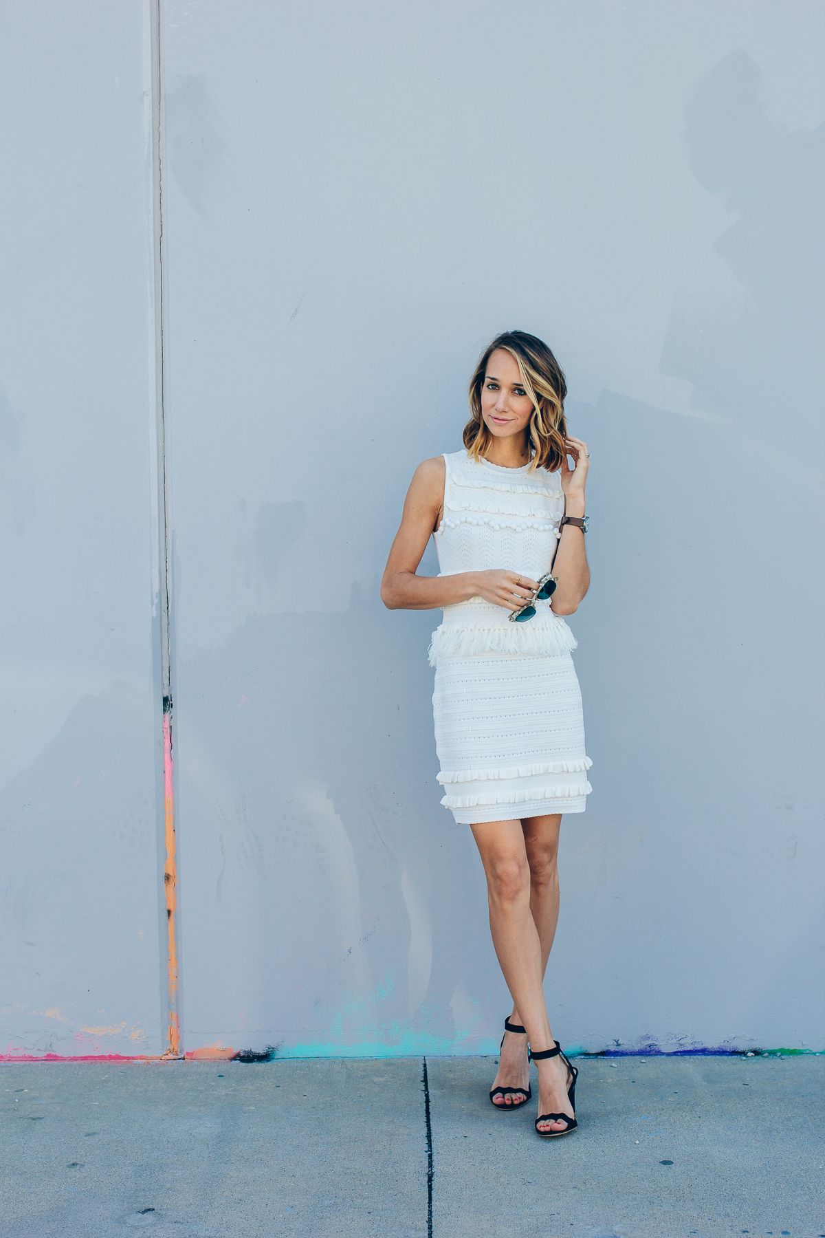 White Pom Dress | Wedges