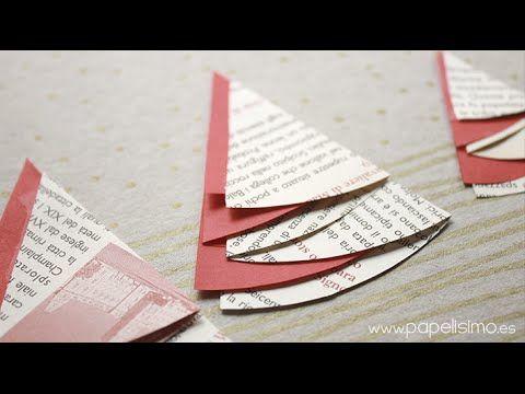 Tarjetas de Navidad hechas a mano originales con árboles de papel