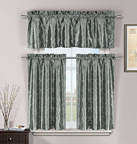park avenue collection fishscales 3pc set kitchen curtain gunmetal