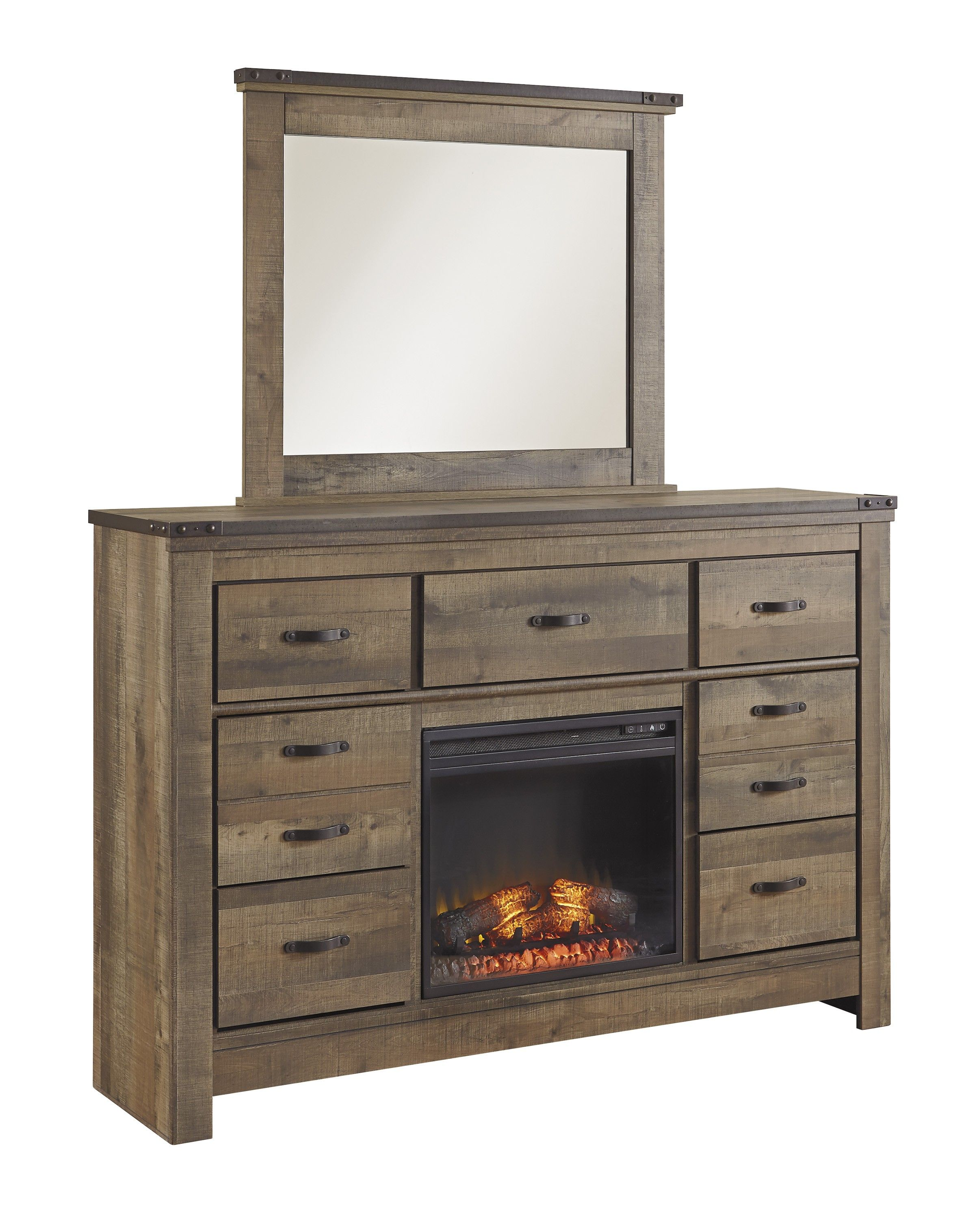 trinell brown dresser with fireplace option dresser dream