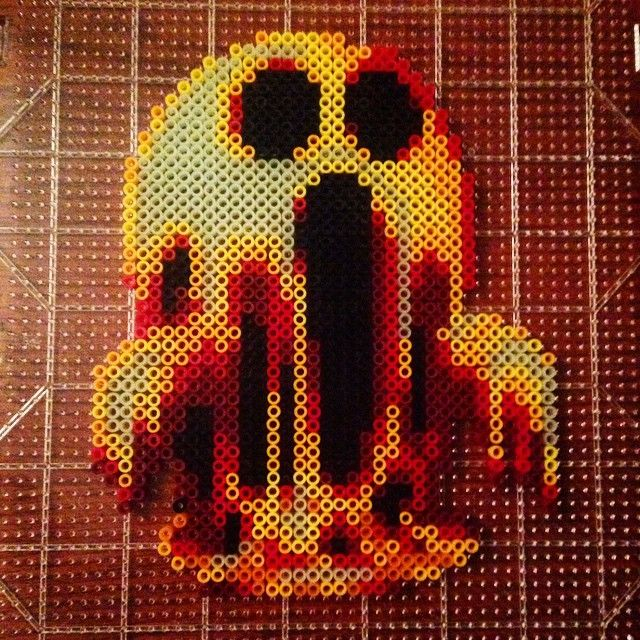 I know I posted a ghost already but I wanted to see these colors mash up and it came out to be pretty bad ass! #Ghost #Molten #Lava #Red #Orange #Yellow #Black #Pixel #Pixels #Perlers #8bit #Kandi #KandiKid #Edc #EDCLV #Rave #Raves #Ravers #edm