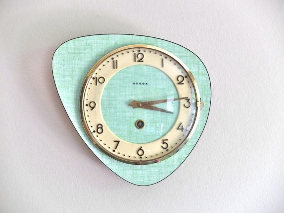 Vintage French BEBOZ Formica Wall Clock   1950s Mid Century