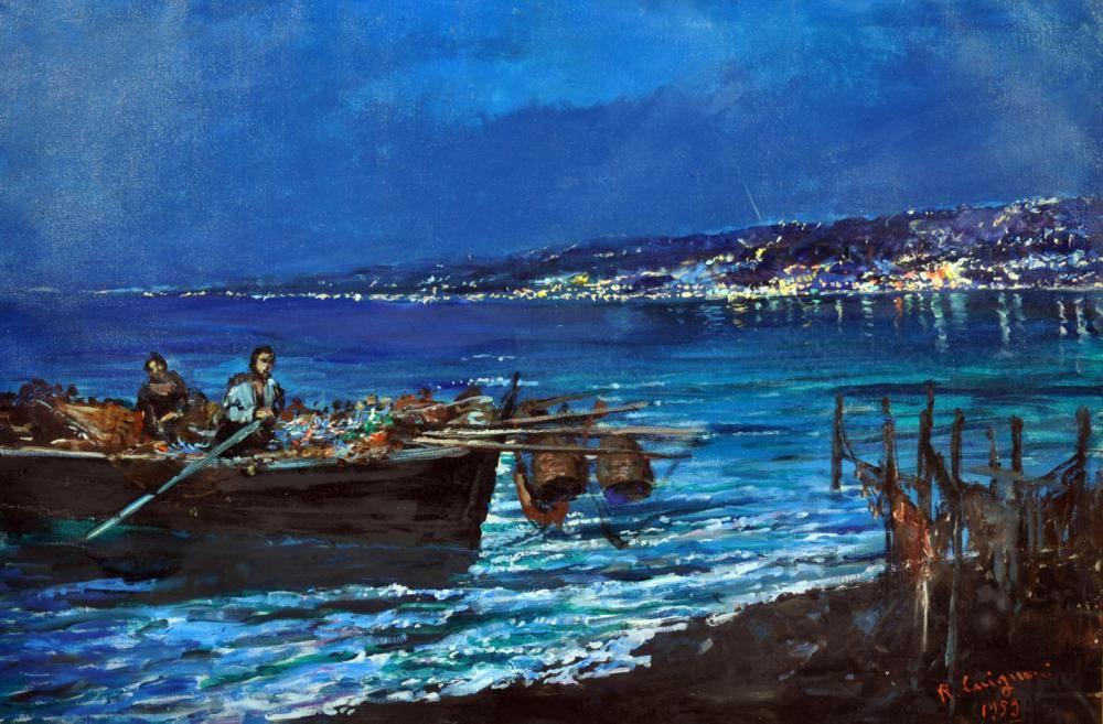 Carignani Roberto (Napoli 1894 - 1975) Paesaggio notturno olio su tela cm 80x120