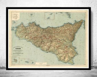 Old Map of Sicily Sicilia Italia 1891