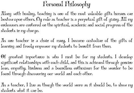 Personal Philosophy as a classroom teacher | Teaching ...