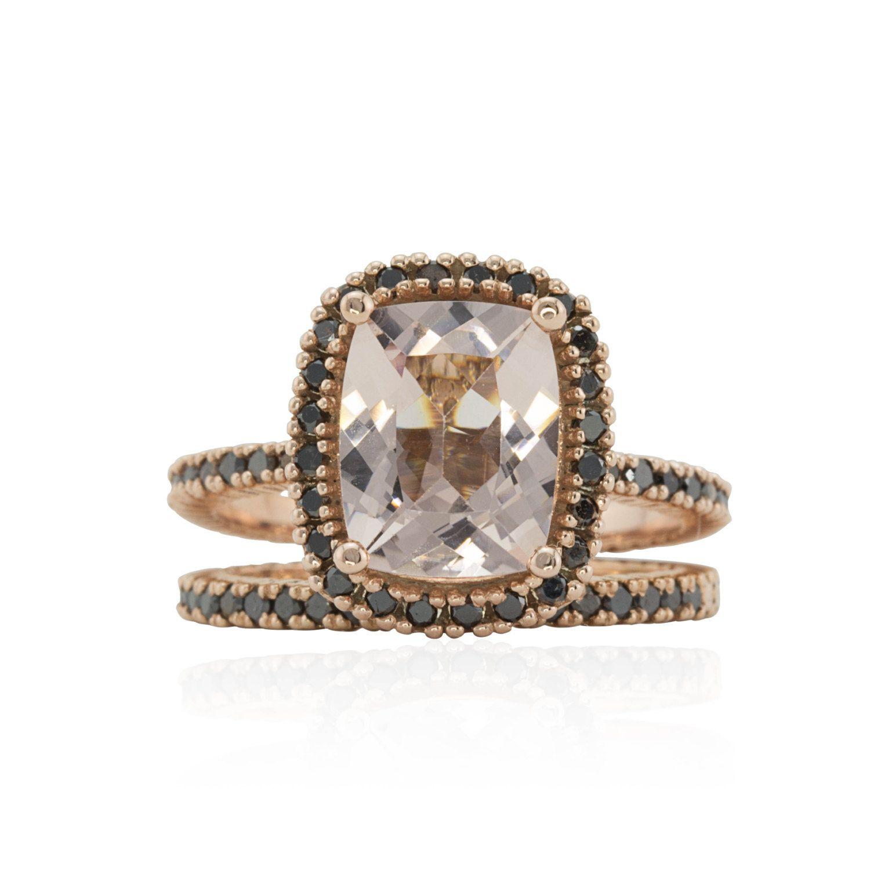 Black Diamond Ring with Cushion cut Morganite Natural Morganite