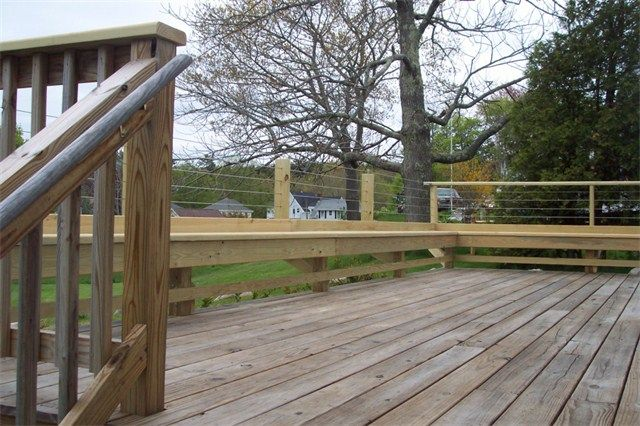 Pressure Treated Deck W Stainless Steel Cable Railings And