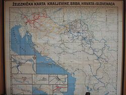 Railway map of the Kingdom of Yugoslavia between WWI and WWII