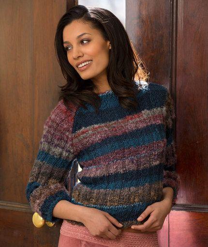 Multi-colored Cropped Sweater (Free Knitting Pattern ...