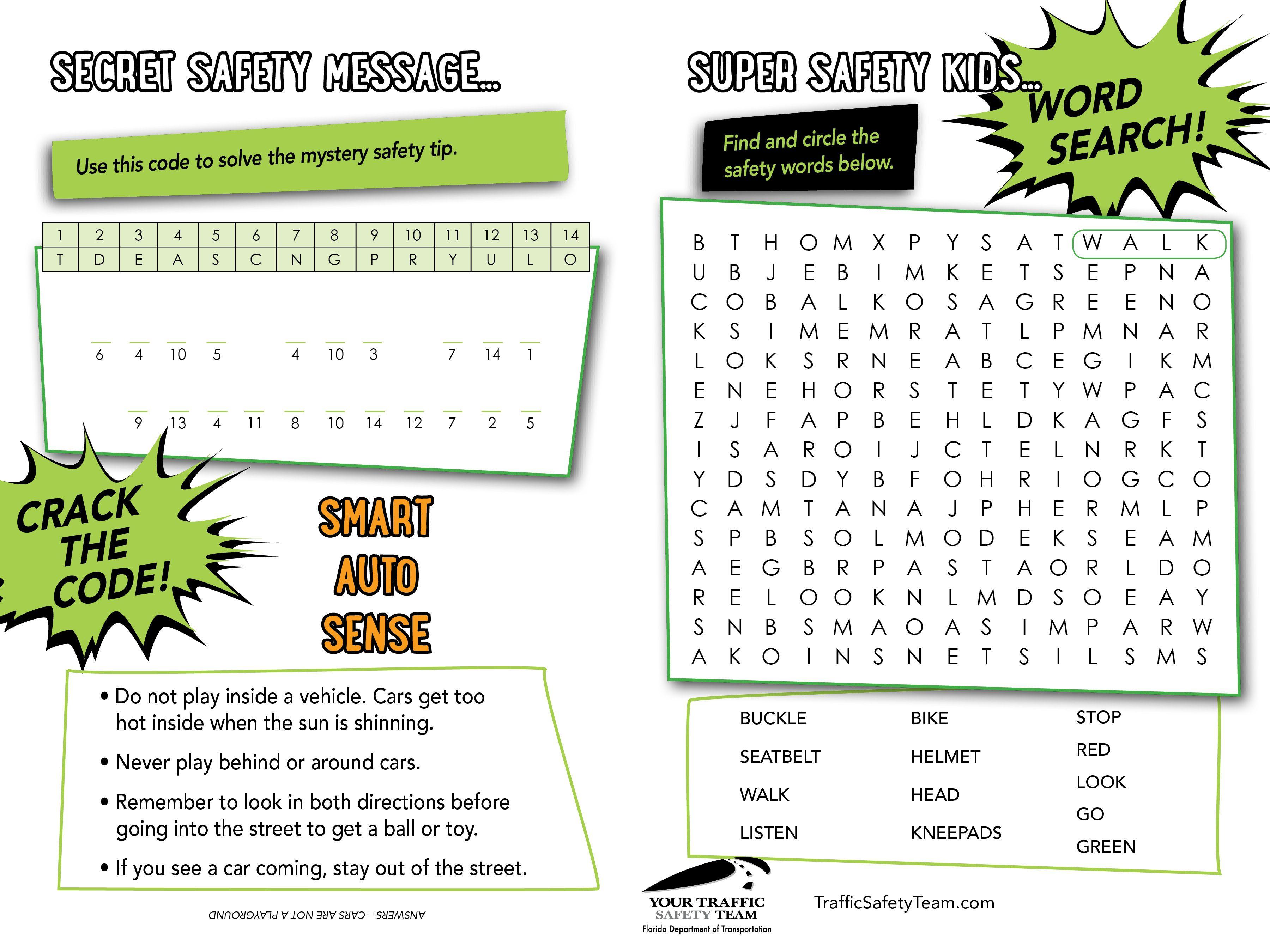 Secret Safety Message Activity Sheet For A Supper Safe