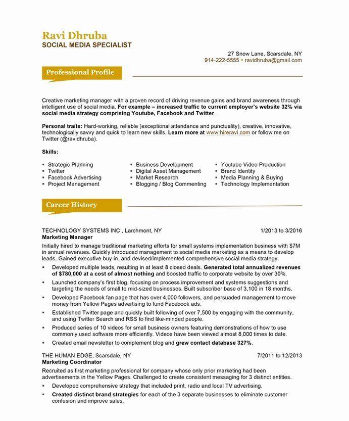 Social Media Resume Examples Unique Social Media Specialist Free Resume Samples Marketing Resume Resume Makeover Free Resume Samples