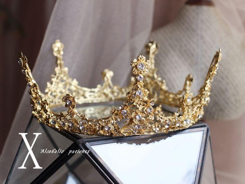 Luxury Gold Rhinestones Baroque Bridal Crown Tiara Wedding Bride Hair Headdress    eBay #crowntiara