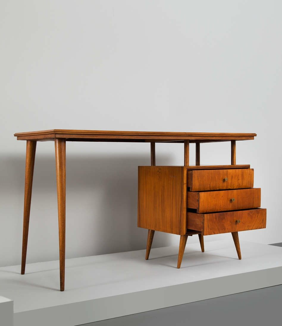 Paul McCobb Rosewood and Brass Bossa Nova Desk 1960s