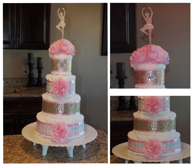 Baby Girl Shower Fun Ballerina Diaper Cake I Made For