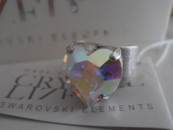 Aurora Borealis Swarovski Ring 15mm by ParisiJewelryDesigns