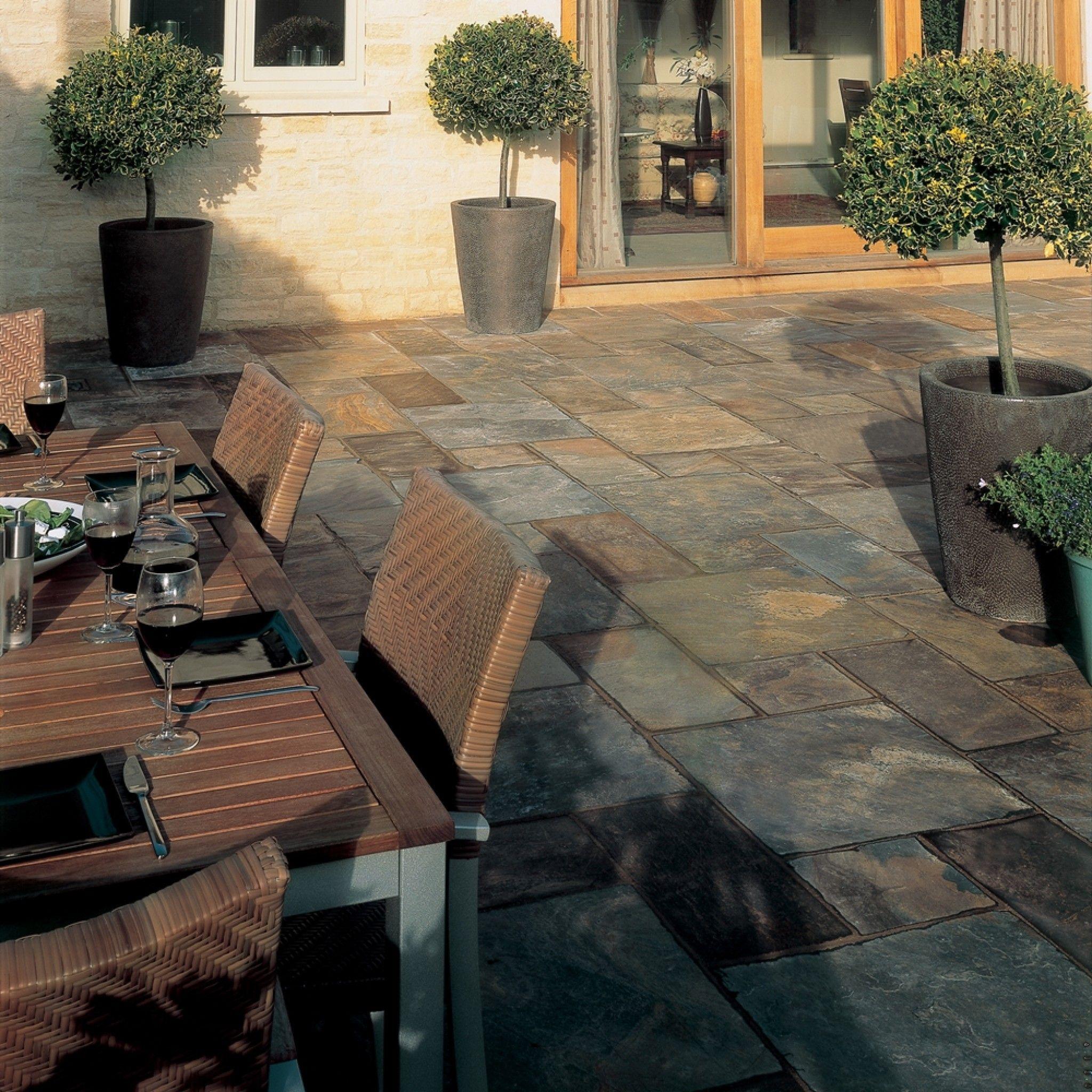 bradstone natural slate paving vijaya gold patio pack 10 20 m2