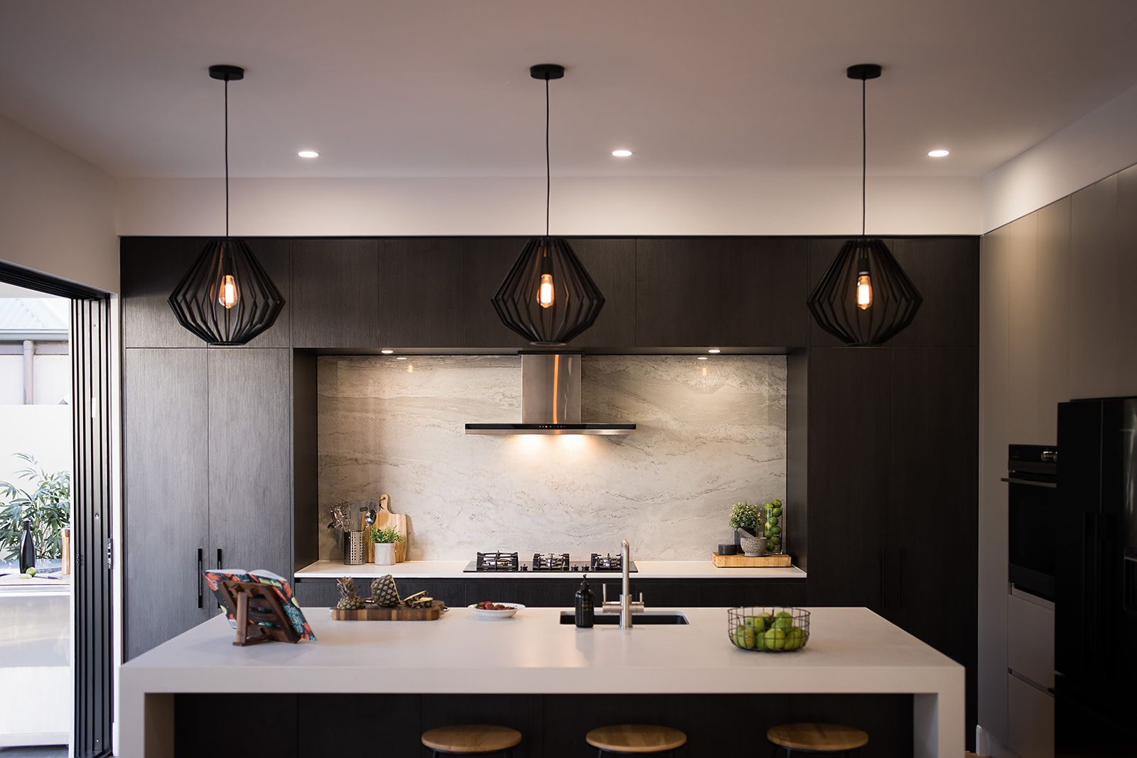 Caesarstone® Fresh Concrete™, beautifully contrasted with Polytec