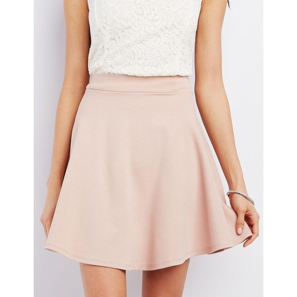 Charlotte Russe Ponte Knit Skater Skirt ($17) ❤ liked on Polyvore featuring skirts, blush, pink circle skirt, flared skirt, high waisted skater skirt, skater skirt and high waisted flare skirt