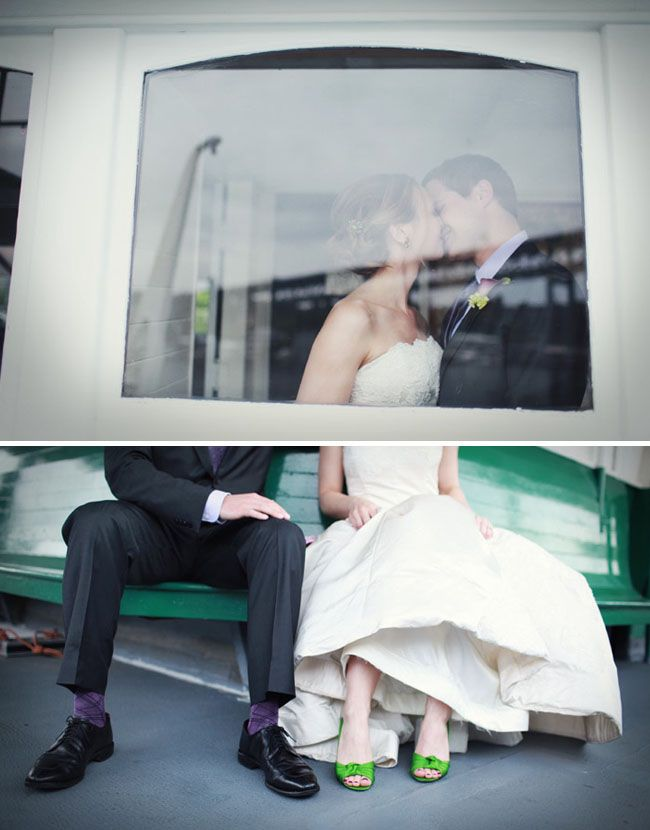Real Wedding Beth Joes Seattle On A Ferry In The Rain