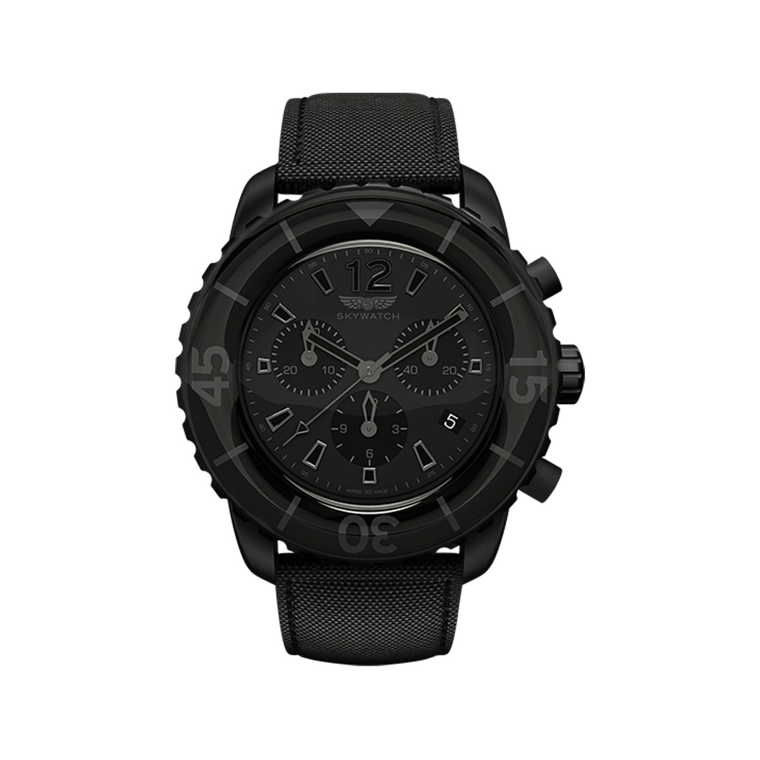 {All Black 44mm Chronograph Skywatch} this is so black ops; James Bond-style.